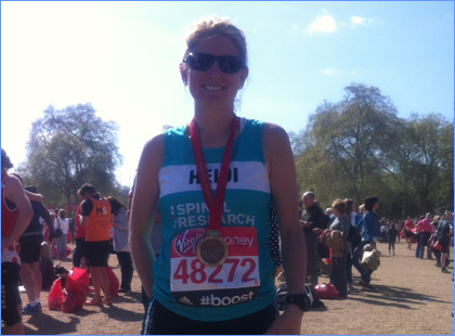 Heidi Myles ran the 2014 London Marathon in support of Spinal Research