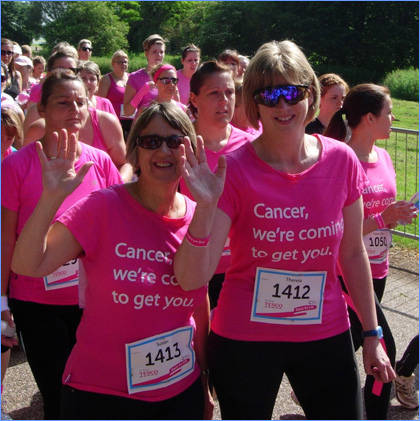Teresa Couldwell and Susan Brady run the Race for Life 2014
