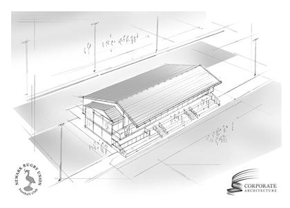 Newark Rugby Club club house overview architect drawing