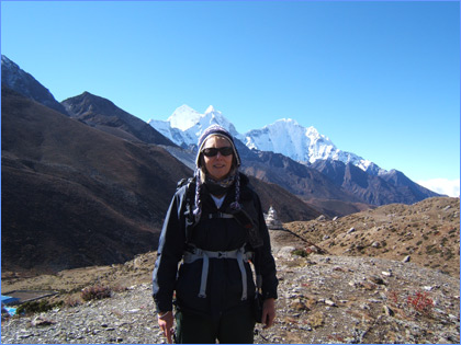 Linda Combes at Evert Base Camp